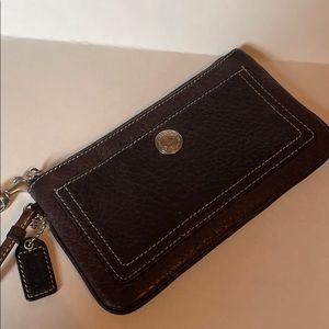 Coach chocolate pebbled leather wristlet EUC